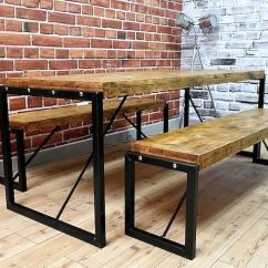 Kitchen Benches Sink Repair 4ft Industrial Reclaimed Rustic Pine Dining Table Steel Delivery Available