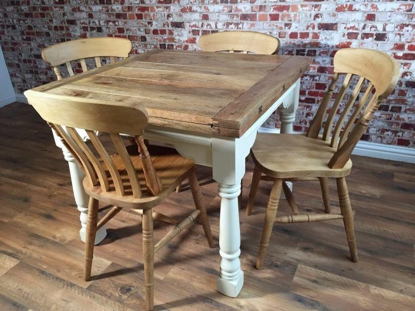 Extending Farmhouse Rustic Dining Table Set  Drop Leaf