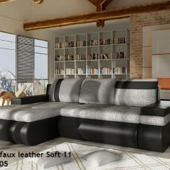 Corner Sofa Bed Oslo Mini Storage Container Sleep Function New Camel Colored Special Offer With