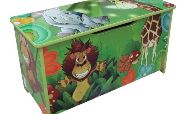Jungle Green Kids Childrens Wooden Toy Box Bench Storage