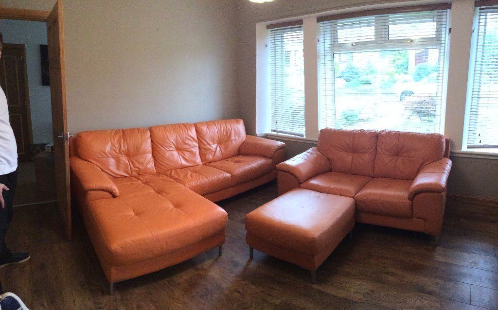 dfs sofas that come apart throws to cover ex orange leather corner sofa, pouffe and 2 seater ...