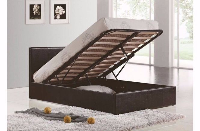 Double Size Gas Lift Ottoman Storage Bed Black Or Brown With Mattress