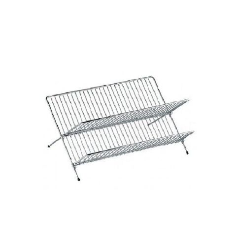 2 TIER STEEL X SHAPE FOLDING BOWL PLATE DISH DRAINER RACK