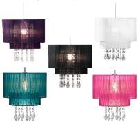 Riband Voile Beaded Pendant Acrylic Droplet Ceiling Light ...