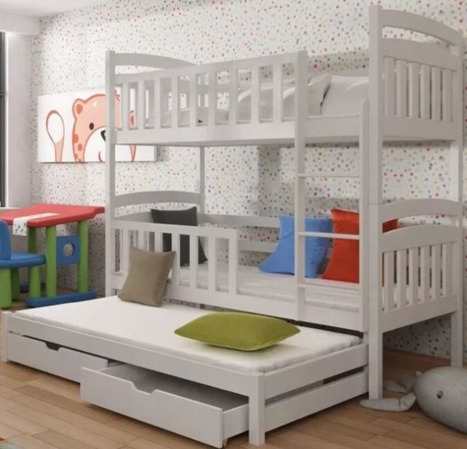 White Bunk Beds With Trundle Mattresses Large Drawers Complete Bedding And Curtains