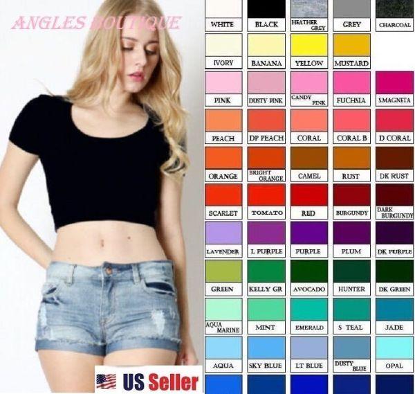 Crop  Cropped Short Sleeve Basic Tee Tank Top Shirt Cotton S M L Multi