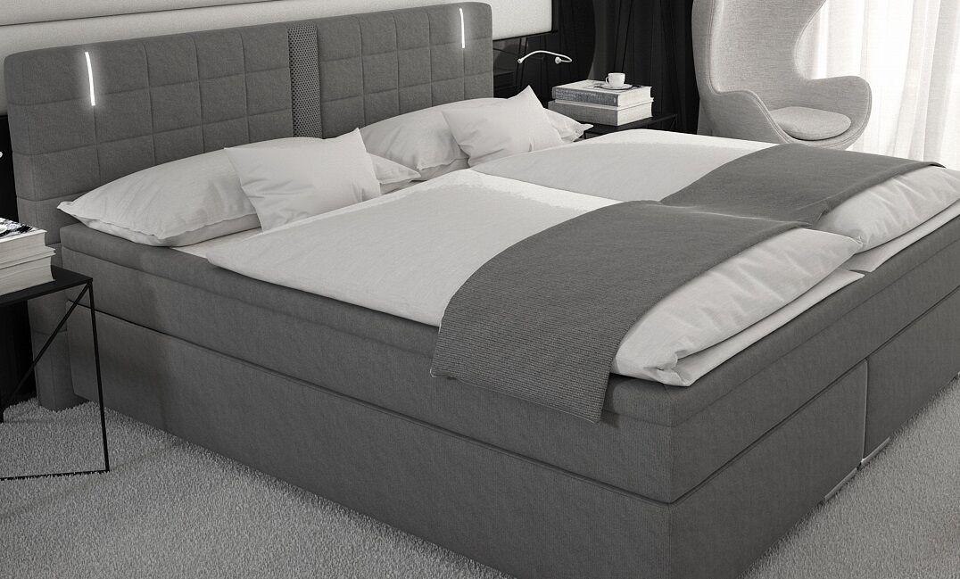 Boxspringbett 180x200 Doppelbett Designerbett Boxspring Bett Hotelbett LED Grau