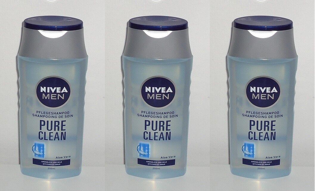 (1L=11,87€) 3x Nivea Men Pure Clean Aloe Vera Shampoo, 3x250ml