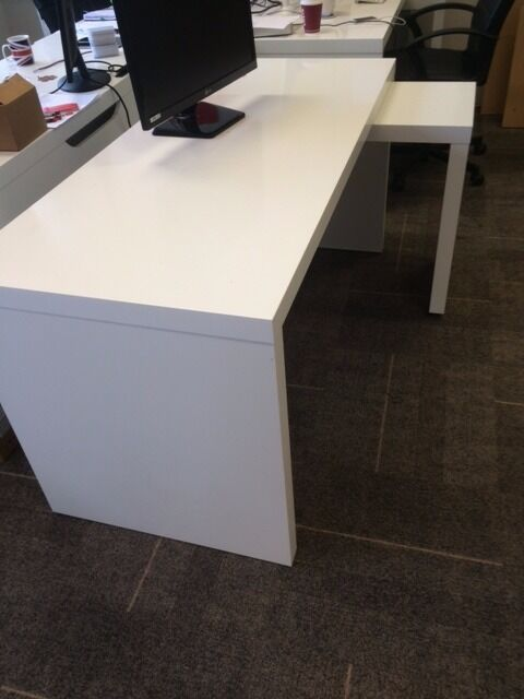 DESK  IKEA MALM  WHITE WITH PULL OUT PANEL  in
