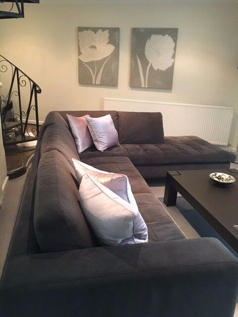 large dark grey corner sofa beds new york city natuzzi plus chair faux suede