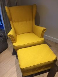 STRANDMON Wing chair and Footstool in Skiftebo Yellow by ...