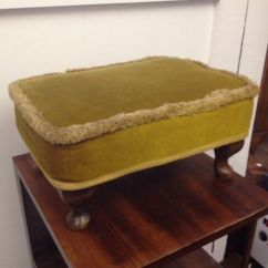 Chair Stool Retro Restoration Hardware And A Half Genuine *sherborne* Vintage Footstool Queen Anne Legs ...