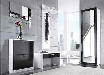 3tlg. Flur-Garderobe Dielen-Set Spiegel Schuhschrank Wandpaneel Torino UVP199€1d