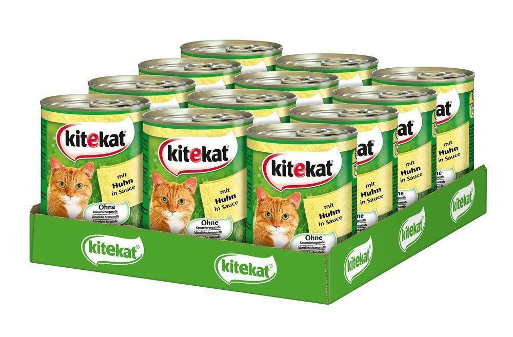 """1 Palette Kitekat Katzenfutter """"Huhn in Sauce"""", 12 x 400 gr Dose"""