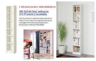 2x IKEA Bookcase BILLY, White 40x28x202 cm   in ...
