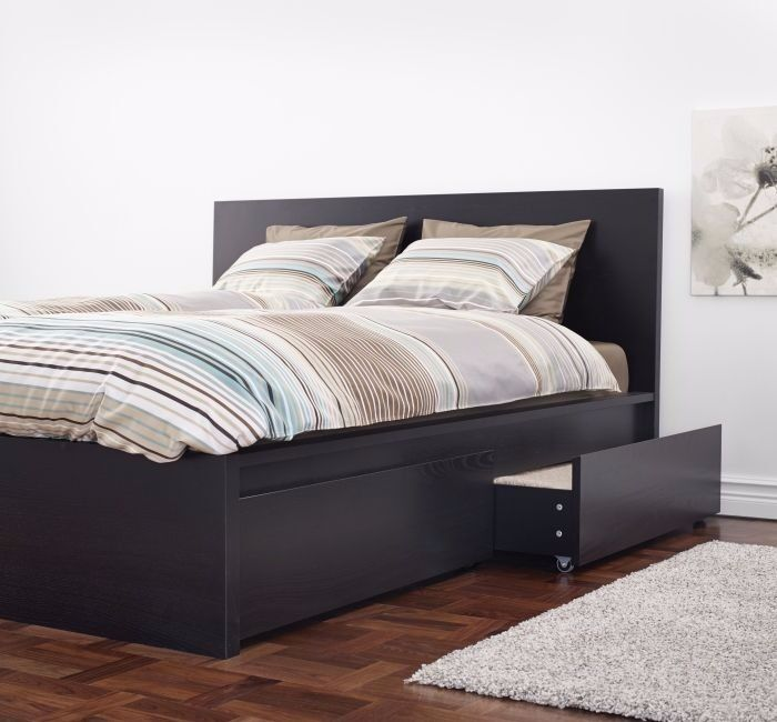 Black Brown Ikea Malm Bed Frame With 2 Storage Boxes