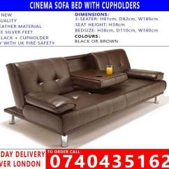 East London Sofa Cinema Sectional Covers For Dogs New Cupholder Pu Leather Bed In Black Brown Click Clack