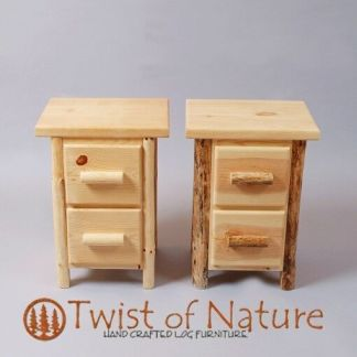 Log end table/ night stand  2 drawer space saver