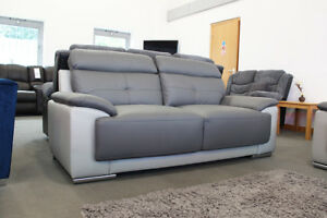 leather sofas glasgow area ashley furniture 299 clearance ebay linden 3 2 seater two tone dark grey brand new
