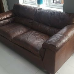 Leather Sofa Brown Dfs Small Sofas One 3 Seater And 2 Luxury