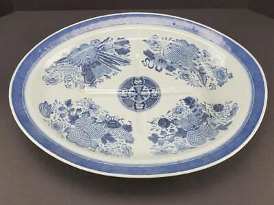 "ANTIQUE CHINESE EXPORT PORCELAIN BLUE & WHITE FITZHUGH MEAT PLATTER, 19"""