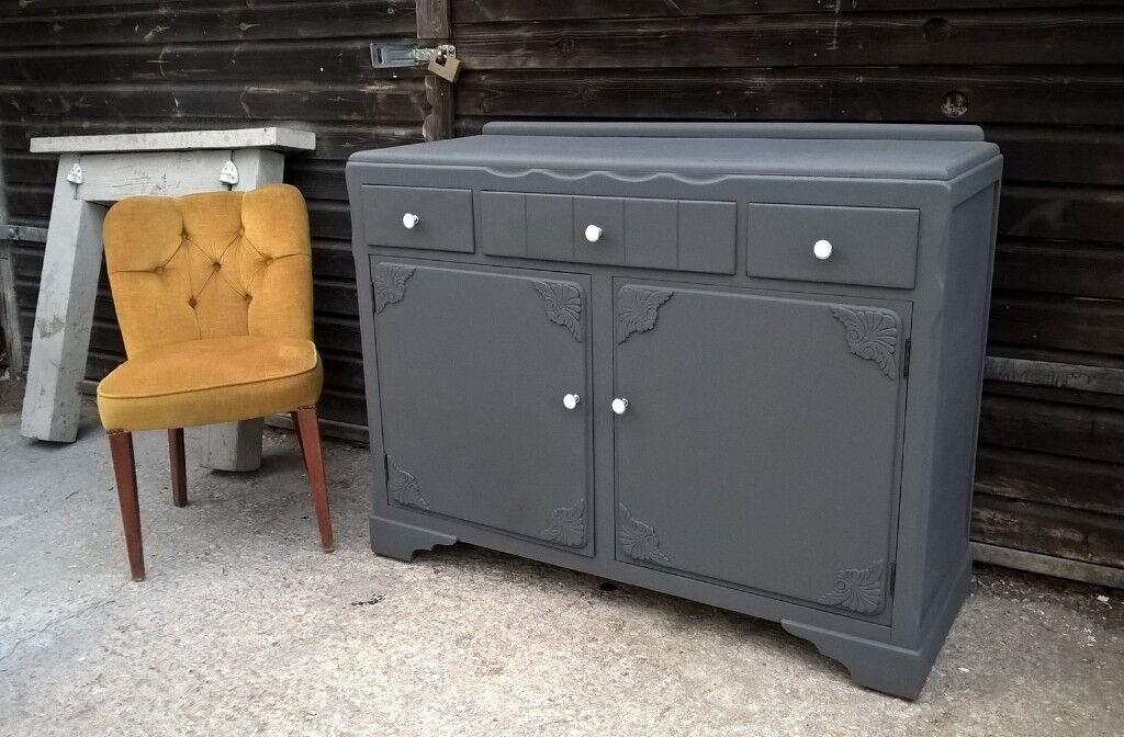 vintage grey oak sideboard
