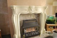 ORNATE FIRE SURROUND STONE EFFECT RESIN FIREPLACE/MANTEL ...