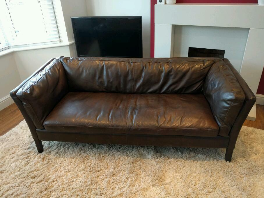 John Lewis Halo Groucho Leather Sofa In Watford Hertfordshire