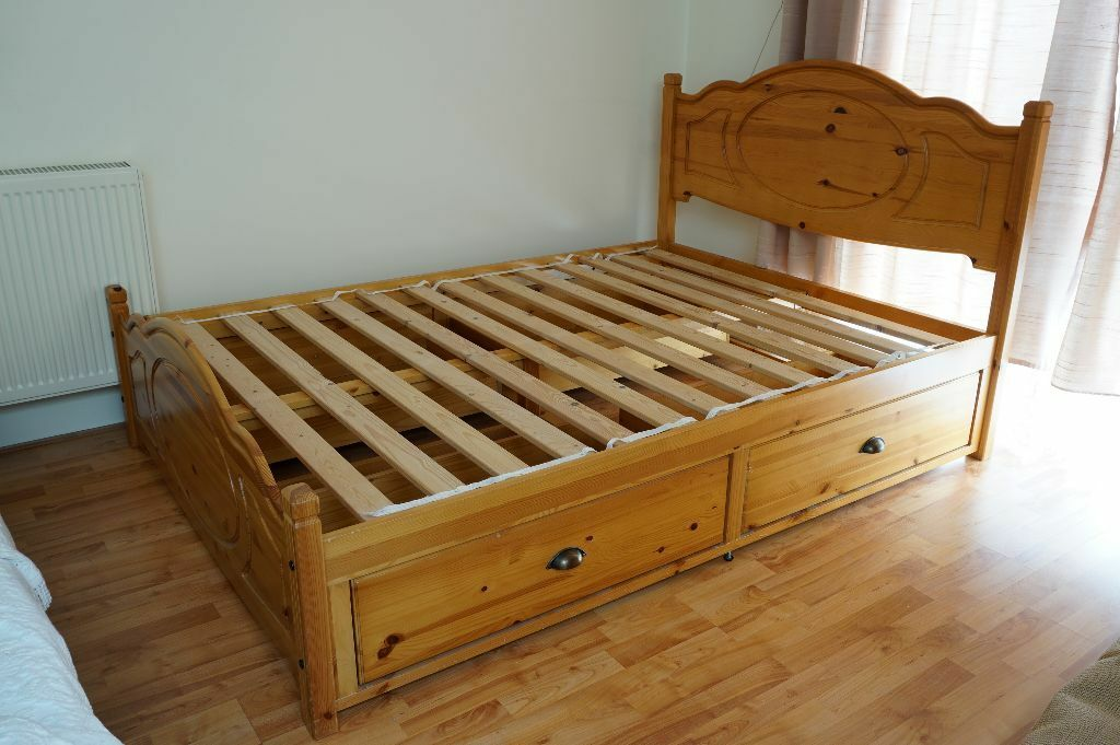 Sherington Solid Wood Double Bed Frame + 4 Wooden Drawers