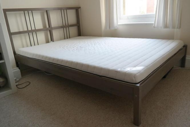 Ikea Rykene Double Bed Frame Grey Brown With Slatted Base