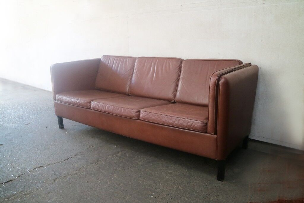 70s sofa doc bunk bed price 1970 s danish mid century leather 3 seat in waltham abbey