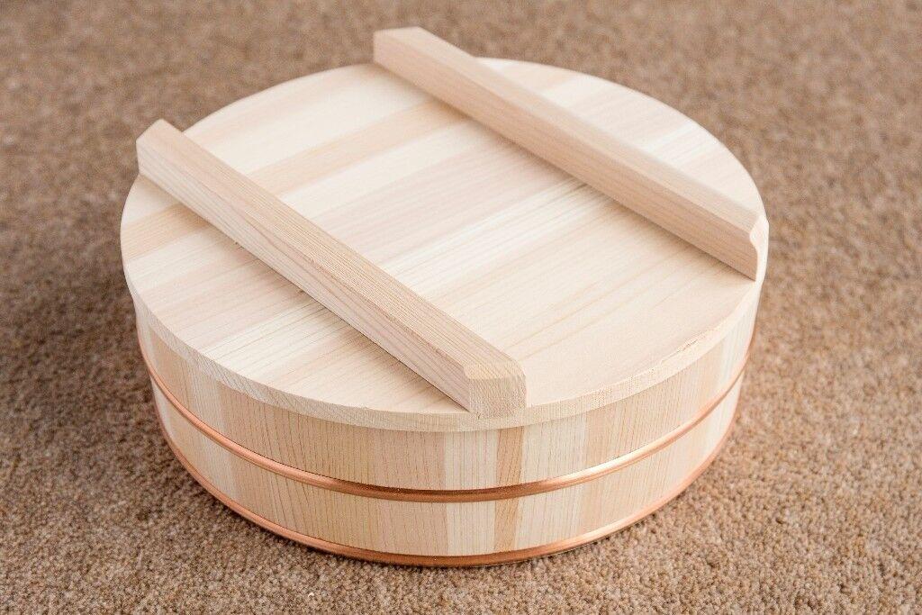 """33cm 13/""""D Wooden Sushi Bowl Hangiri Oke Tab For Mixing Sushi Rice//Made Japan"""