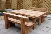 Oak table and bench railway sleeper bench set garden sets ...