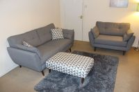 French Connection 'Zinc' Sofas and Patterned Footstool and ...