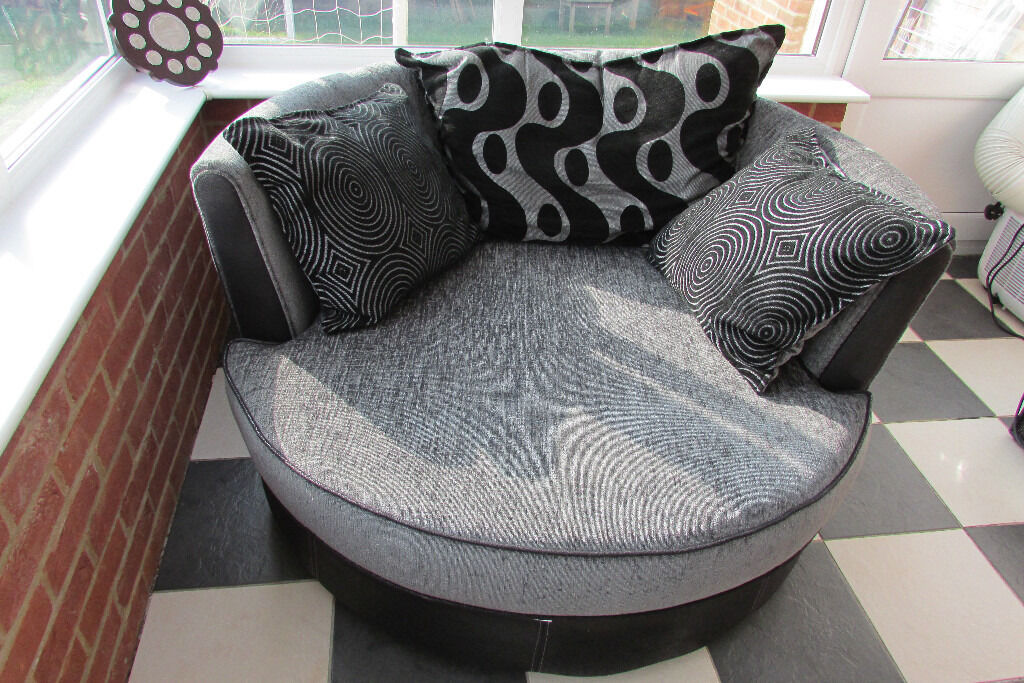 leather sofa brown dfs get cushions restuffed shannon grey/black cuddle chair | in ashford, kent ...