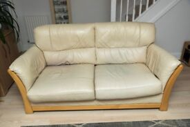 fairmont sofa laura ashley lane power reclining reviews in cream with additional arm protectors leather three seater klaussner