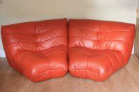 2 soft leather corner sofa chairs, orange, unusual funky ...