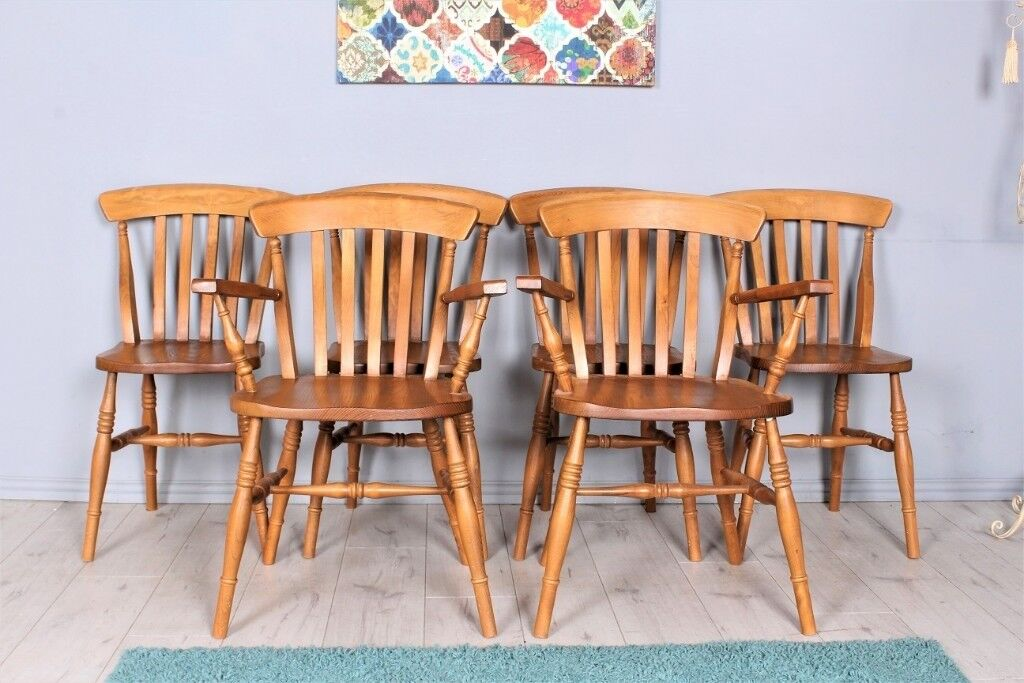 oak farmhouse chairs pottery barn butterfly chair delivery options set of 6 including 2 carvers waxed