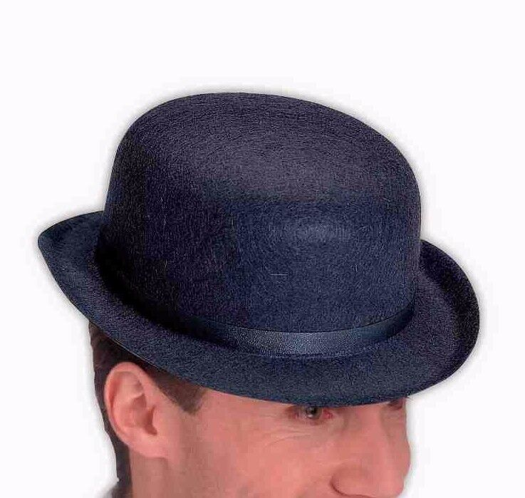 Mens Black Bowler Hat Derby Cap Wool-Like The Son of Man Costume Adult Head NEW