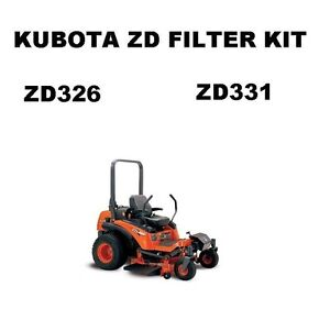 Kubota ZD331 ZD326 Lawn Mower Filter Maintenance Kit with