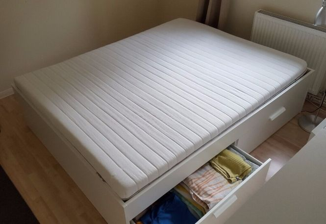 Ikea Brimnes Eu King Size Double Bed With Storage White Malfors Mattress