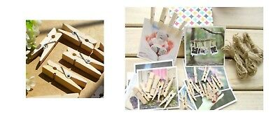 10 MINI PINZETTE 3 cm Holz Wäscheklammern BOMBONIERE Konfetti Einladungen Haus