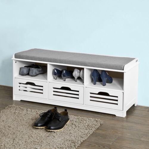 SoBuy® Sitzbank mit 3 Körben und Ablagen, Schuhtruhe, Sitzkommode, FSR36-W