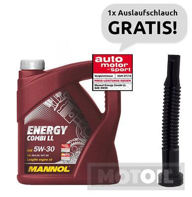Motoröl 5W-30 5 Liter MANNOL Energy Combi LL BMW LL04 VW MB + AUSLAUFSCHLAUCH