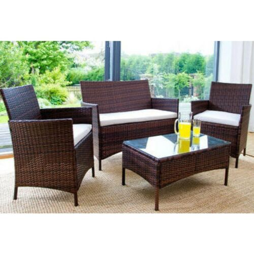 RATTAN-GARDEN-FURNITURE-SET-4-PIECE-CHAIRS-SOFA-TABLE-OUTDOOR-PATIO-CONSERVATORY