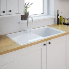 New Kitchen Sink Wall Mounted Faucets And Drainer Cooke Lewis Burbank 1 Bowl White Ceramic