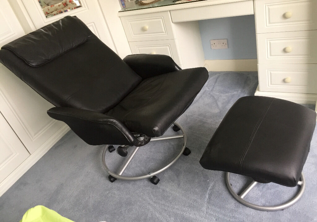 ikea recliner chairs sale rattan swivel chair cushions malung leather and footstool black excellent condition