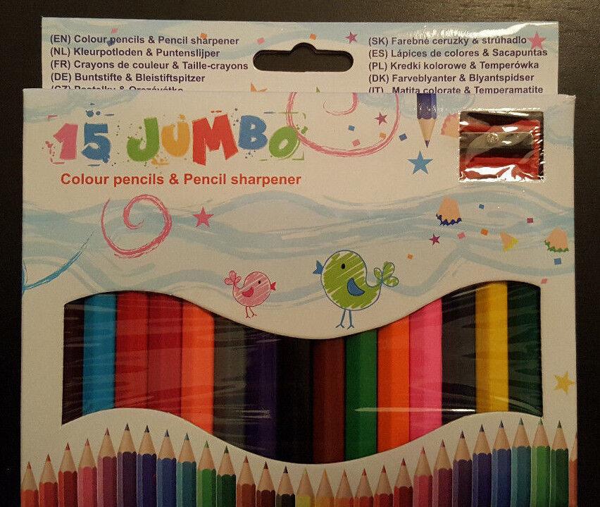 15 Jumbo Buntstifte mit Anspitzer Schule malen