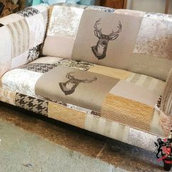 Sofas Quick Delivery Uk Gustavian Sofa Stag Animal Print 2 Seat Patchwork Chesterfield Brand New Made
