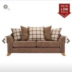 Tartan Chesterfield Sofa Polyester Leather Fabric X2 Brand New Oak Furniture Land Brown And Sofas Matching Foot Stool